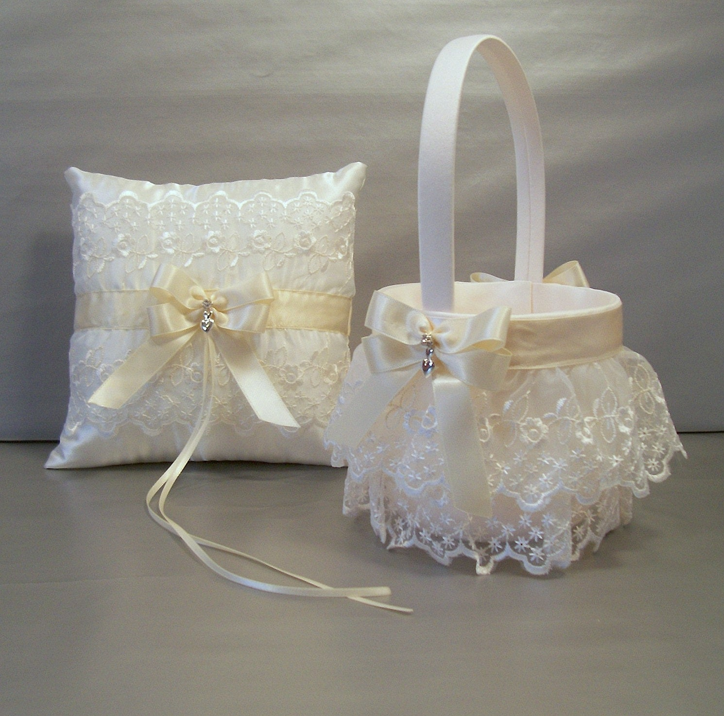 Flower Girl Baskets Ivory Uk : Ivory on wedding bridal flower girl basket by