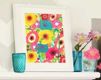 1344 Whimsical Floral Garden; Mixed Media Fine Art Print for Children's Room Decor