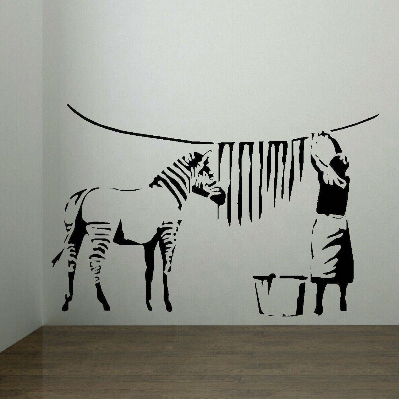 large banksy zebra stripes laundry room wall art sticker mural the laundry room removable wall sticker temple amp webster
