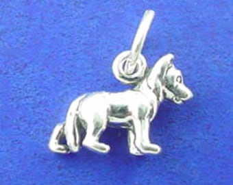GERMAN SHEPHERD Charm, Police Dog, Miniature Small Dog Charm .925 Sterling Silver