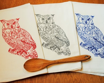 Owl Tea Towels - Set of 3 Kitchen Towels - Screen Printed Cotton - Owl Design - Perfect Wedding Shower Gift  -  Animal Theme