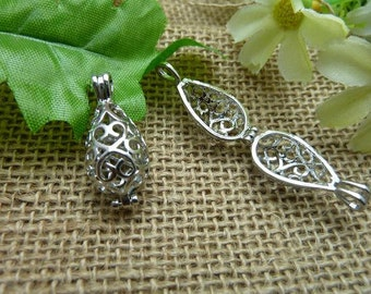 2 Silver Lovely High Quality Brass Filigree Wish Box Magic Box Charm Pendant ( open double sided and 3D )12x28mm-No.C7565