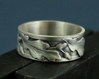 Oak Ring - Acorn Ring - Sterling Oaken Ring - Silver Men's Wedding Band - Nature Inspired Wedding Band - Wide Oak Leaf Patterned Band