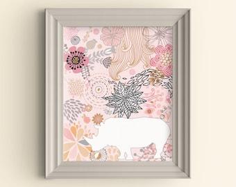 Rhino Art Print Rhino Silhouette Art Print Flower Art Print Floral Graphic Art Print Hipster Safari Art Print Wall Art Housewarming gift