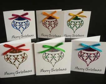 "6 x Stunning Handmade Shiny Christmas Bauble Ornament ""Merry Christmas"" 3"" x 3"" Multi Pack Christmas Cards with envelopes"