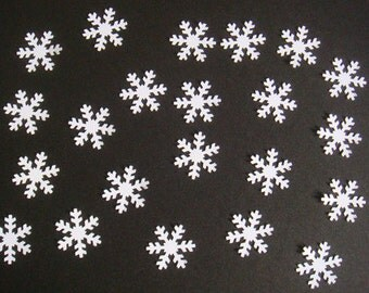 40 small White Snowflake Die cuts for christmas cards toppers cardmaking scrapbooking craft projects confetti