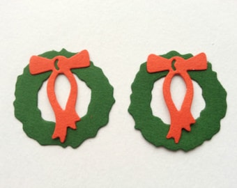 12 Assembled festive Christmas Wreath die cuts for cards/toppers - cardmaking/scrapbooking