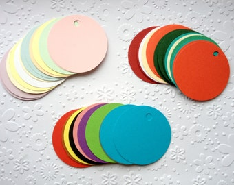 20 Circle Gift tags Jewellery tags wedding favours table decoration place cards name cards *any colour*