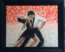 FREE SHIPPING Tango Dancers Acrylic  painting by Viktoriya Sirris Pallet knife canvas textured painting holiday gift home decoration