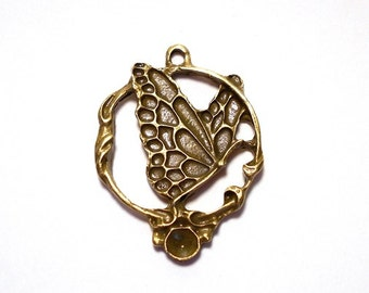 4 Butterfly Charms, Bronze Butterfly Pendant, 31x25mm Circle Butterfly Charm, Large Butterfly Charm, Large Butterfly Pendant  BC0010
