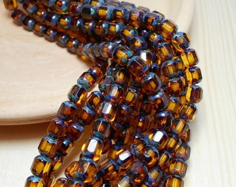 6mm Dark Topaz Cathedral Czech Beads, Topaz Beads, Brown Beads, Transparent Brown Beads, Antique Octagonal Beads, 6mm Cathedral Beads D-B16
