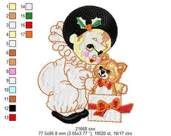 INSTANT DOWNLOAD 16 Designs - Lil'Pierrot Clown Embroidery Designs - Any format