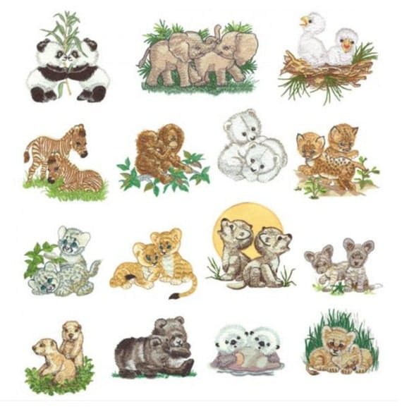 Baby Animals Set 1 Machine Embroidery Designs - PES format
