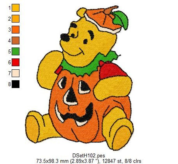 Winnie the Pooh Halloween Embroidery Designs INSTANT DOWNLOAD - PES