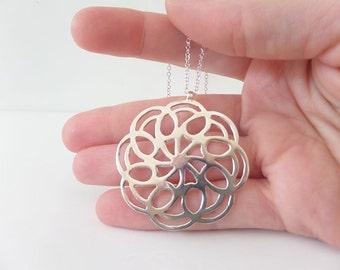 Mandala Necklace, Silver mandala pendant, Spiritual necklace