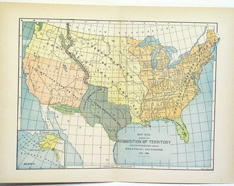 Original 1890s Color Atlas Map of The United States Acquisition Of Territory 1776-1884 Color Lithographed Map Indian Territory
