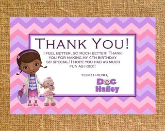 Customized Doc McStuffins Thank You - Birthday - Digital File