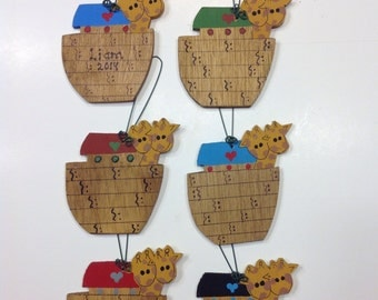 Personalized Wooden Noah's Ark Winter Tree Ornament - Your Name - Christmas Holiday - Hand Painted Wood Copy