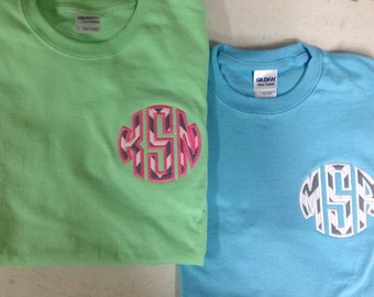 Adult Personalized Applique Monogram T-Shirt