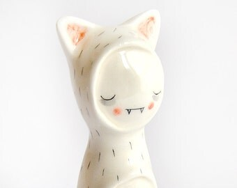 Special Halloween. Little Vampire Figure of Ceramic, with his Cat Sleepwear. Ready To Ship