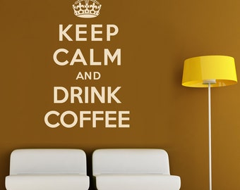 Keep Calm And Drink Coffee Wall Sticker Crown Decal Vinyl Transfer Retro Home British Wartime Quote Art Decoration