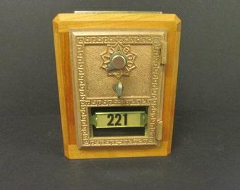 Black Cherry Antique Post Office Box Door Bank Upside Down F c. 1920 Original Number Bar