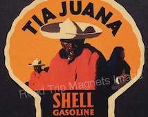 Shell Gasoline 1920s Travel Decal Magnet for TIA JUANA (Version One). Accurately Reproduced & hand cut in shape as designed. Nice Travel Art