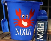 Personalized Beach Sand Pail Bucket Monogrammed Crab Sand Bucket Beach Spring Break Birthday Gift Party Favor Kids Beach Sand Toys