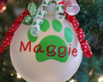 Monogram Christmas Ornament Personalize with Pet's name Dog or Cat