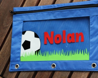 Personalized Monogram  Pencil Case Pouch Back to School Soccer Sports