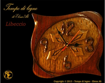 Libeccio (Southwester) - Hand carved wood wall clock