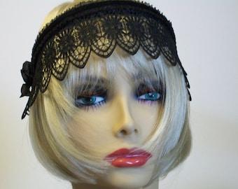 Bridal Headpiece, Wedding Headband, Renaissance Headband, Black Lace Tiara, Bridal Tiara, Bridal Accessory, Black Headband, Women Accessory
