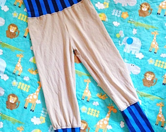 Soft cotton beige & stripped baby boy lounge pants // made to order