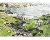 Watercolor Ireland Ocean Scene - Original Artwork - Ready to Ship