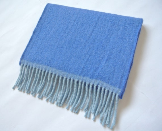 Vintage Drake's Barneys Lambswool / Angora Scarf Blue Solid Pattern Made In Scotland