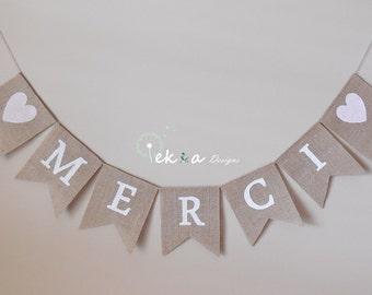 MERCI Burlap Banner / Burlap MERCI wedding garland / photo props / wedding bunting / Burlap Wedding Banner / reception decoration