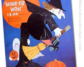 Vintage 1970s Crafty Halloween Witch Centerpiece