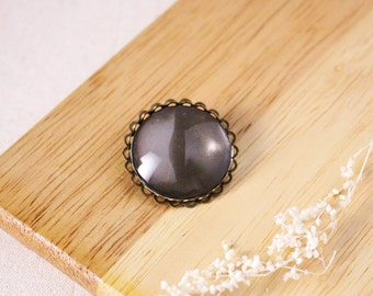 DIY 25mm Crystal clear glass with bronze brooch kit