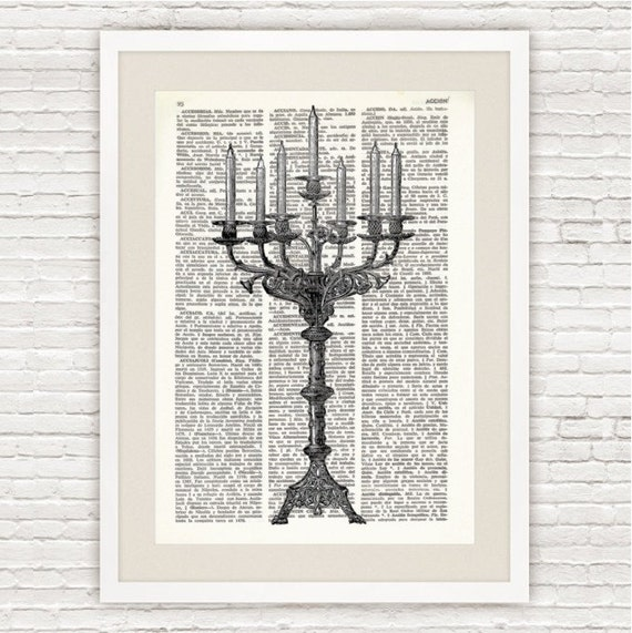 Dictionary Art Printed On VintageDictionary Page. Candelabra  #011
