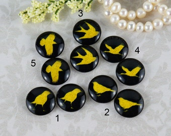 12mm,16mm,20mm Mix Gold Black birds silhouette standing on branch Handmade photo glass cabochons cabs 12B099