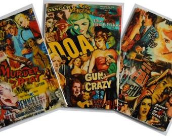 Film Noir Mash Up - Flexible Fridge Magnets (Set of 3)
