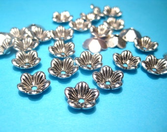 50pcs Antique Silver Flower Bead Caps 10mm