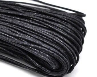 15ft Black Wax Cotton Cord Bracelet Necklace Cord 2mm Wax Cord (No.102)