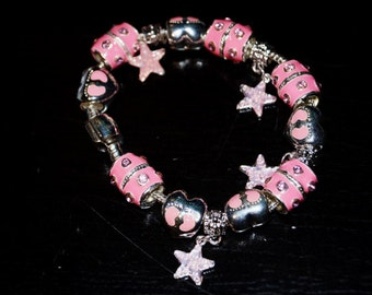 Pink Silver Bead Bracelet on Alloy Rope Chain with Magnetic Clasp