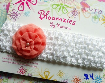Girls Elastic Crocheted Headband with Attached Embellishment