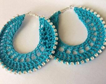 Aquamarine Crochet Earrings