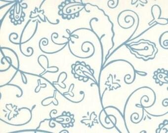 Chrysalis Vines Fabric Turquoise Blue on Cream by Sanae