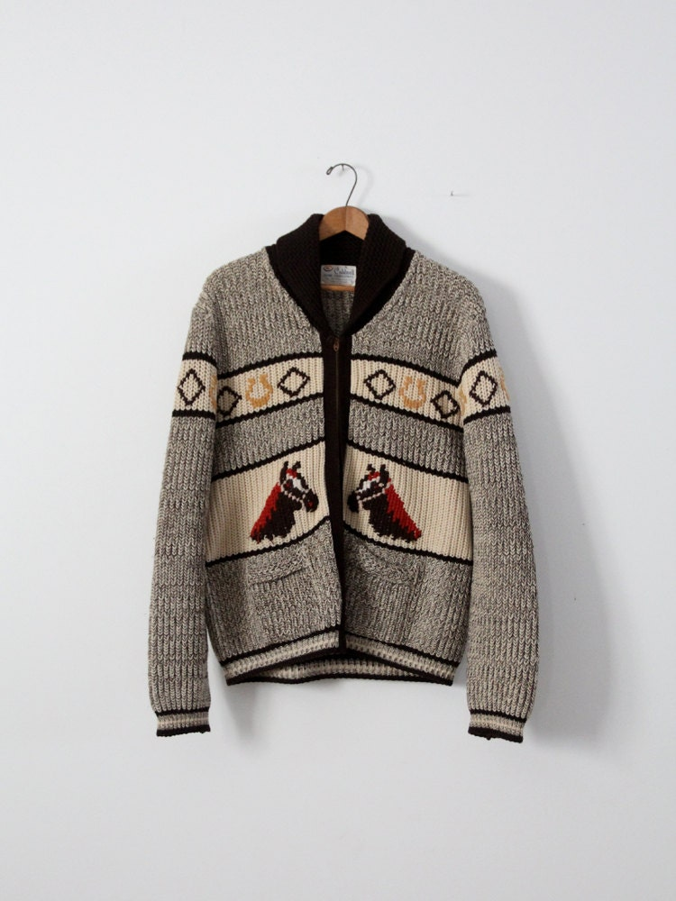 vintage horse sweater 1950s A Caldwell chunky knit cardigan