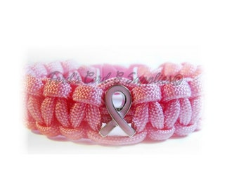 Breast Cancer Awareness Paracord Bracelet, Survival Bracelet, Pink Ribbon, Breast Cancer Survivor