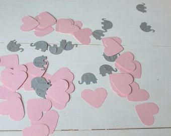 Grey and Pink Confetti- Baby Shower Confetti, Pink Heart Confetti, Grey Elephant Confetti, Set of 100